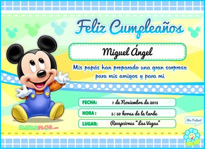 Tarjeta De Cumpleanos De Mickey Mouse Bebe Listo Para Imprimir