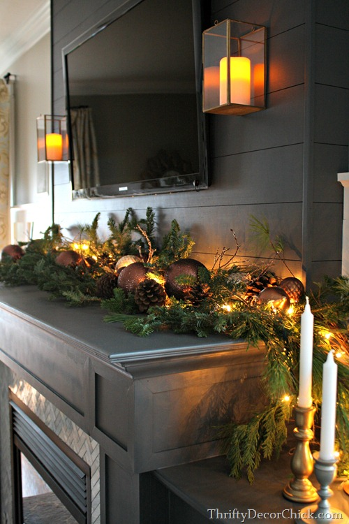Christmas mantel real greenery