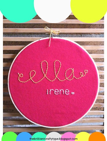 Ella Irene Embroidery Hoop Name Art