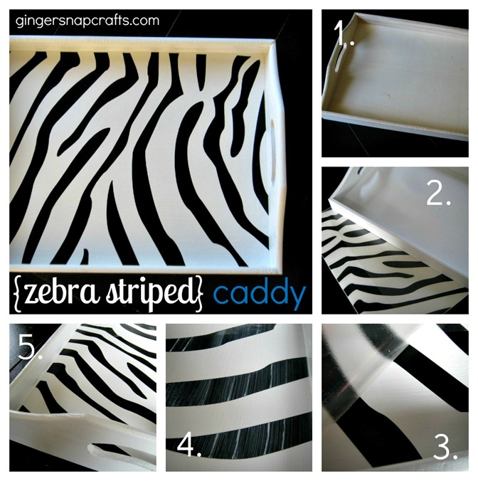 zebra striped desk caddy