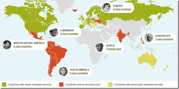 Ancestry.com.发布了新的国际集合