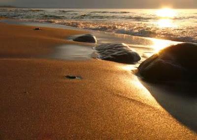A sun set on the beach