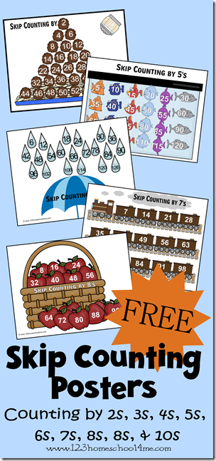 FREE Skip Counting Posters - these are such a great way for kids to memorize counting by 2s, 3s, 4s, 5s, 6s,7s, 8s, 9s, and 10s. This is a great precursor to multiplication for kindergarten, 1st grdae, 2nd grade, 3rd grade, 4th grade kids. SUPER CUTE VISUALS!!