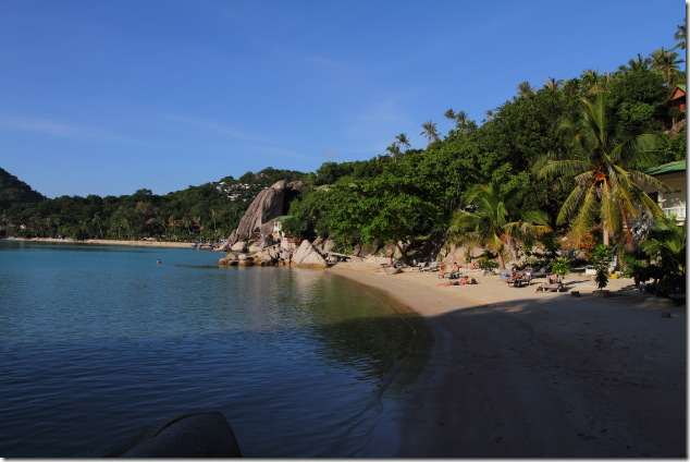 The private beach of Freedom Beach Resort, Koh Tao
