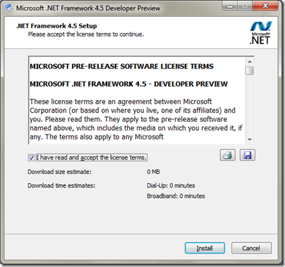 Microsoft .NET 4.5 Framework Instllation for Visual Studio11 Developer preview