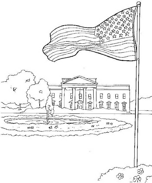 White house coloring page for The white house coloring page
