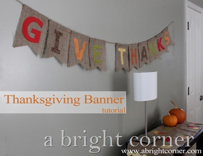 Cute Thanksgiving Banner using burlap
