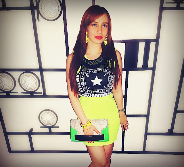 Fashion - Neon Dress & H&M Swag Collection Crop Top