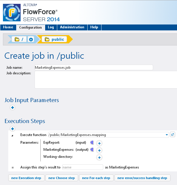 The data mapping in a FlowForce Server job