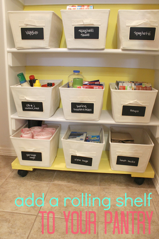 add a rolling shelf to your pantry #organizaton #kitchen