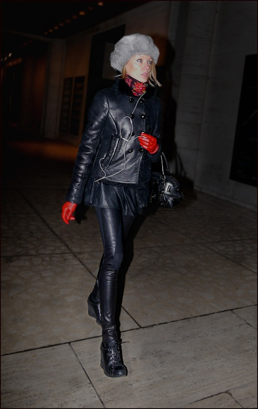 w all black leather fur lined short jacket mini skirt legging red leather gloves floral print scarf grey fur cap ol