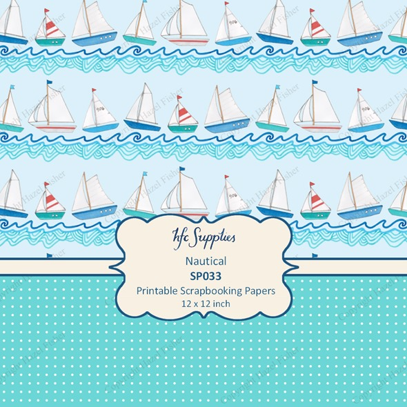 SP033 Nautical etsy 4 printable scrapbooking papers boats