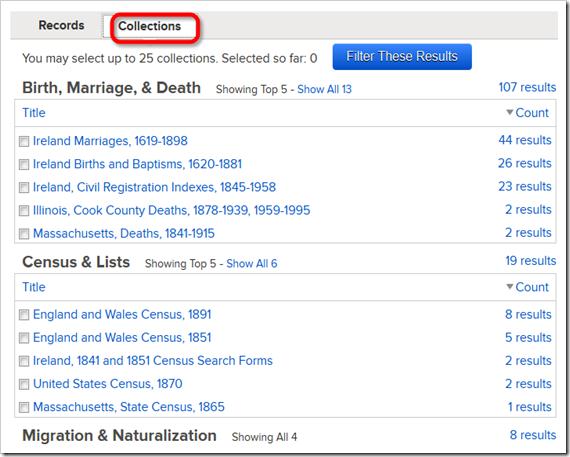 这Collections tab lists collections with matches.