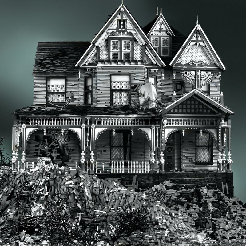 Broken Down Victorian Era Homes Made Out of Lego