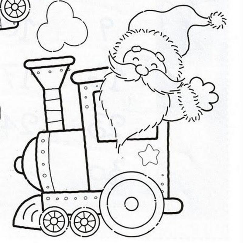 Trem Do Papai Noel Para Imprimir E Colorir