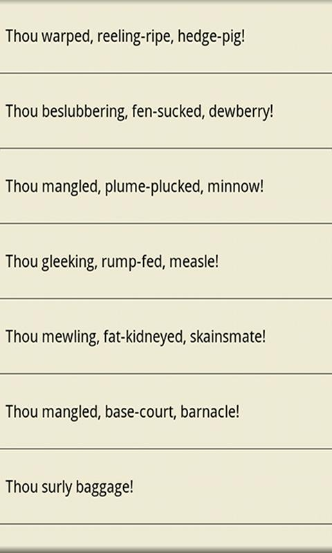 Insults for Shakespeare Geeks - screenshot