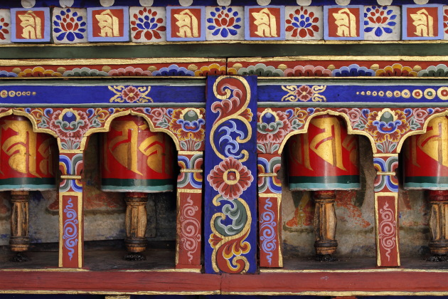 Prayer Wheels at the beautiful Kyichu Lakhang Temple