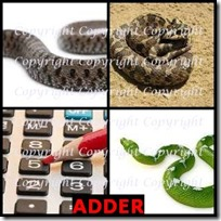 ADDER- 4 Pics 1 Word Answers 3 Letters