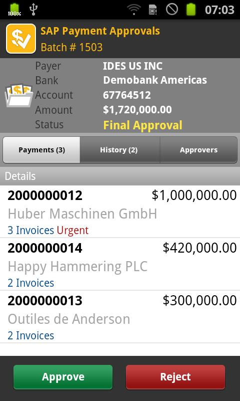 SAP Payment Approvals - screenshot