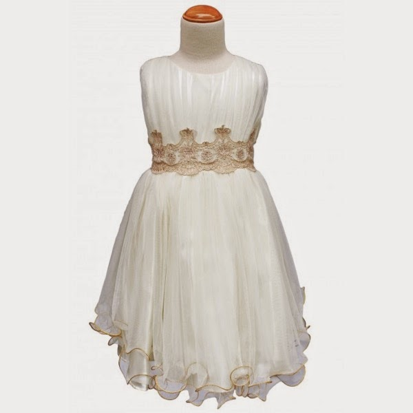 Princess Aura Dress in Ivory with Gold Crowns