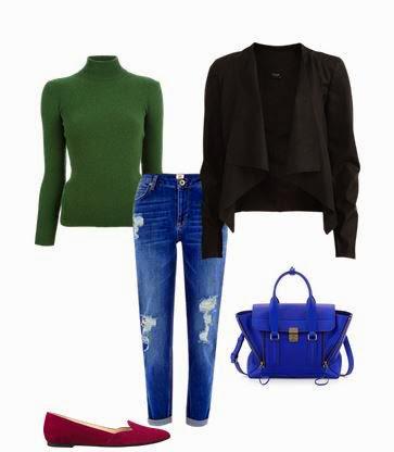 jenas, camisola verde seco, casaco preto, sapatos vermelhos e mala azul