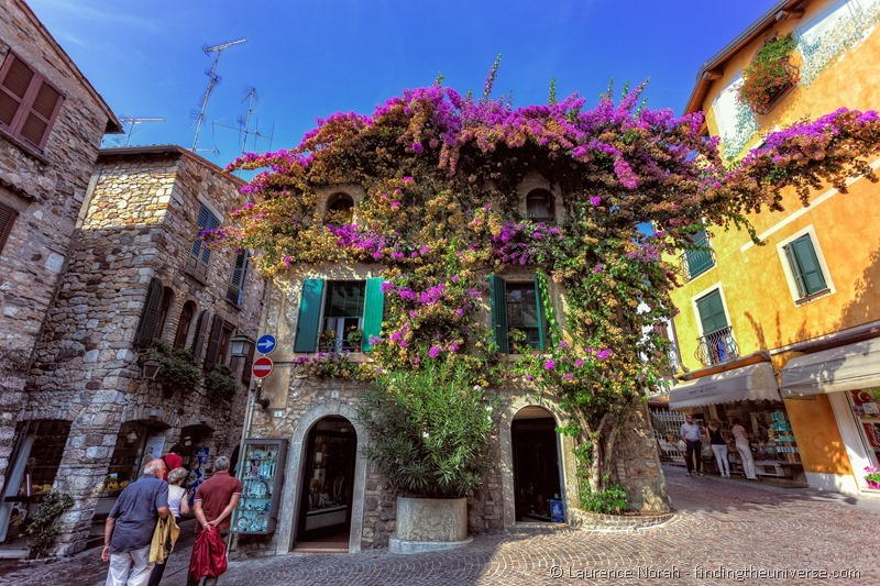 streets flowers sirmione italy cobbles