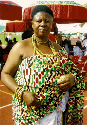 Queen mother in her regal Kente cloths, ashanti women in Ghana