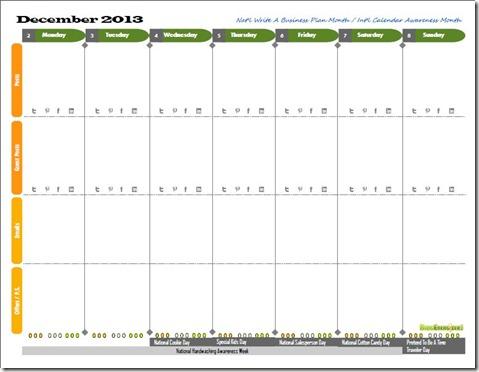 Screenshot of Blog Energizer Blogging Planner and Calendar