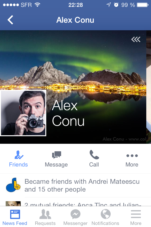 User profiles Facebook 8.0 on iOS: top section with cover photo