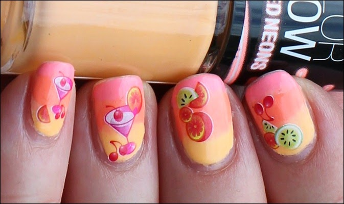 Tropical Island Cocktail Nail Art