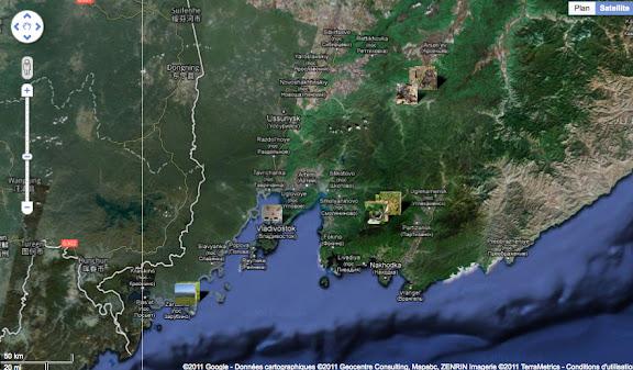 Localisation des photos en Primorye (Oussouri) : Vladivostok (au centre), Tigrovoy et Anisimovka (à l'est), Anutchino (au nord-est) et Andreevka (sud-ouest).