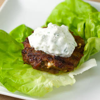 Spiced Turkey Burgers with Green Olives and Feta.