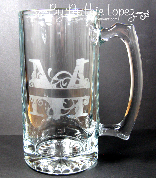 M Monogram - SnapDragon Snippets - Etching Glass - Ruthie Lopez - My Hobby My Art