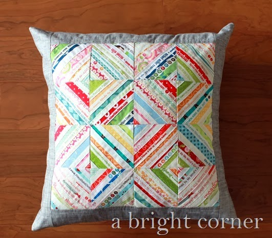 quilted selvage pillow by A Bright Corner