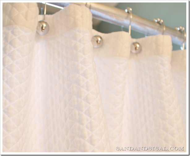 quilted white shower curtain