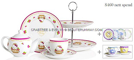 CRABTREE & EVELYN HELLO KITTY TEA SETS SUMMER 2012 LIMITED EDITION tea sets, tea cups and saucers, small plates, tea pot two-tier cake stand Rosewater, Lily, Wisteria, Lavender, biscuits, candles, india hicks, la source