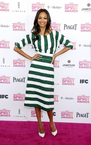 Zoe Saldana seen attending the 2013 Film Independent Spirit Awards