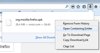 membuka folder download pada browser
