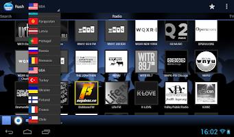 Screenshot of RUSH online radio and TV