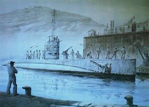 El C-4 amarrando en la base de submarinos de Cartagena. Excelente acuarela de G. de Aledo. Del libro NUESTRA MARINA