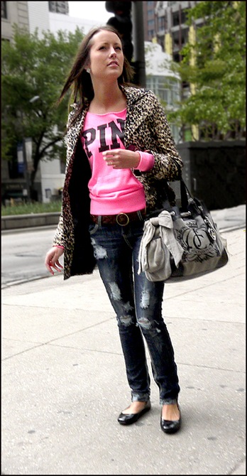 pink tee leopard coat tattered jeans ol