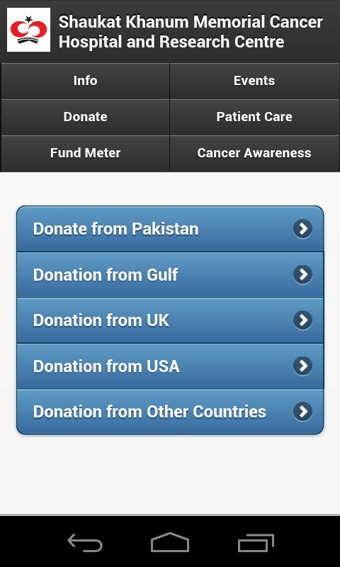 Shaukat Khanum Mobile App - screenshot