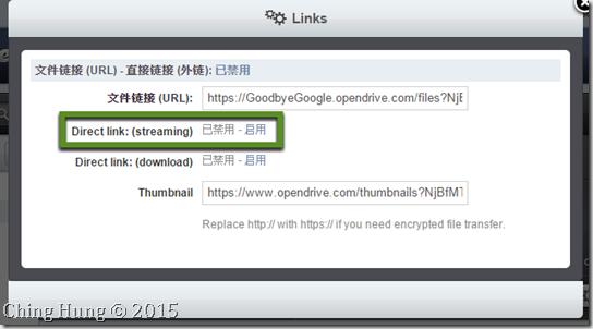 取代 Google Drive 的雲端外連 OpenDrive:開啟外連(Direct Link)功能