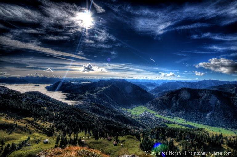 Bavarian mountains and clouds near Munich