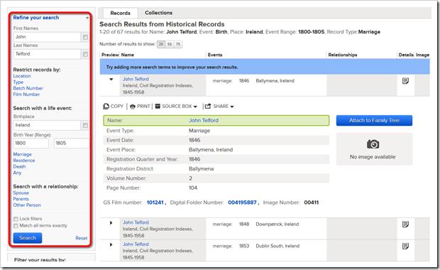 通过更改页面左侧列出的标准来修改搜索结果。