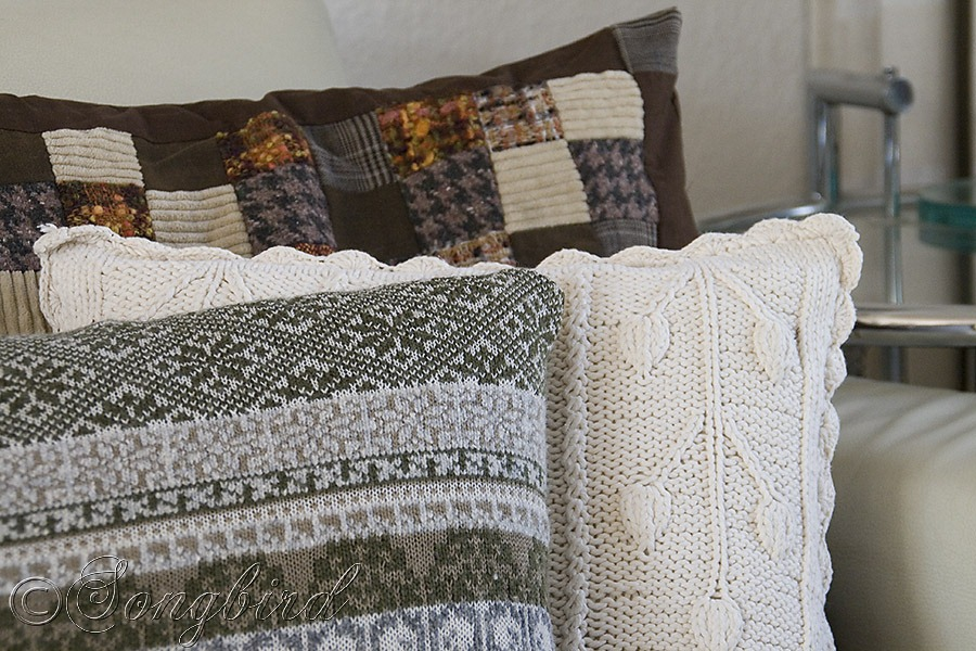 turn sweaters into pillow covers