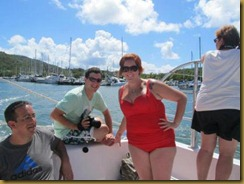 tim and leigh on catamaran