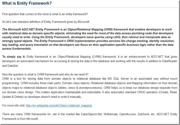 ChatterBox's  NET: MS Entity Framework