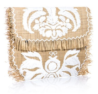 Straw Raffia Embroidered Clutch from Anya Hindmarch at Calypso St. Barth