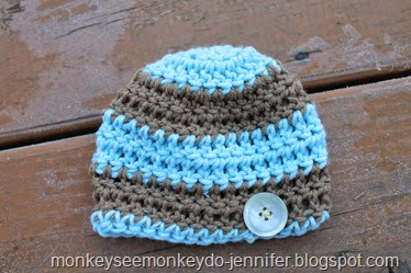 blue and brown stripe baby hat